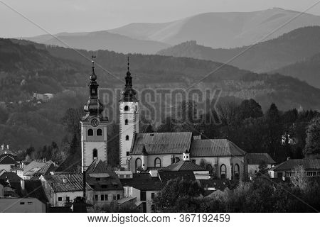 Middle-age Castle Barbican And Church Of The Assumption Of The Blessed Virgin Mary In Banska Bystric