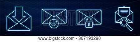 Set Line Mail Message Lock Password, Envelope, Envelope And Check Mark, Envelope With Magnifying Gla