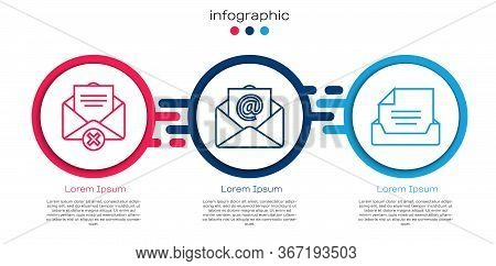 Set Line Delete Envelope, Mail And E-mail And Drawer With Document. Business Infographic Template