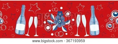 Champagne Icons And Stars Vector Seamless Border. Champagne Flutes, Bottles, Fizz, Flower Bouquet Re