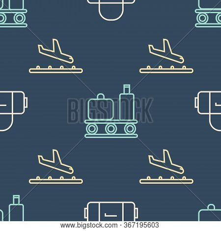 Set Line Suitcase, Plane Landing And Airport Conveyor Belt With Suitcase On Seamless Pattern