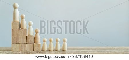 Banner Group Of Wood Figure Standing In The Hierarchy On Wood Stack In Human Resource Management Con