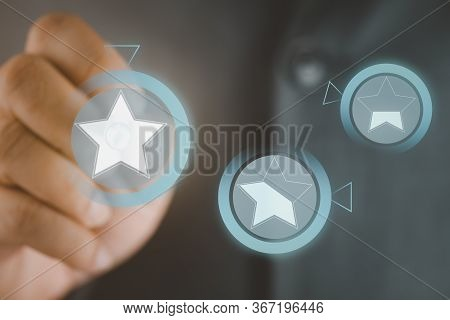 Businessman Pointing Symbol To Satisfaction Rating Of Company. Concept Of Satisfaction Assessment