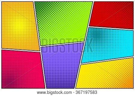 Cartoon Comic Backgrounds Set. Comics Book Colorful Poster With Halftone Elements. Retro Pop Art Sty