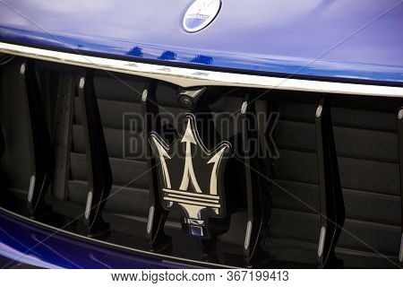 April 21, 2020 - Kiev, Ukraine: Part Of A Car Close-up. Luxurious Maserati Levante In The City.