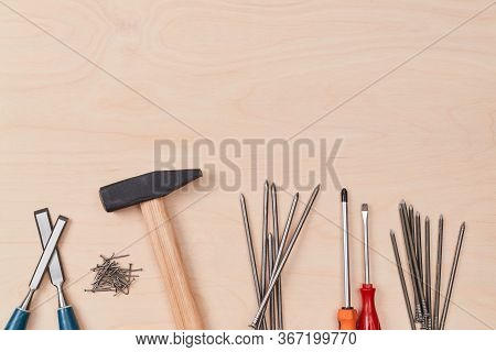Hammer Screwdriver Tacks And Other Equipment. Construction. Renovation And Repair Concept. Copy Spac