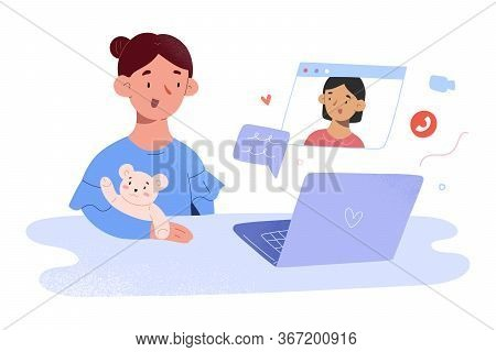 Children Video Call, Small Girls Communicating Via Video Chat During Self Isolation And Quarantine,