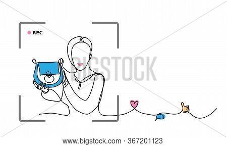 Fashion Blogger Concept. Classic Blue Color 2020 Rewiev. Vector Simple, Minimal Illustration Of Blog