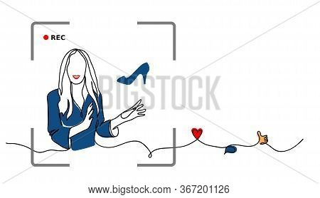 Classic Blue Color 2020 Rewiev. Fashion Blogger Concept. Vector Simple Sketch Illustration Of Fashio
