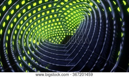 Cyberpunk Futuristic Gyroscope. Rotating Tangled Circular Mechanism Abstract Background. 4k Abstract