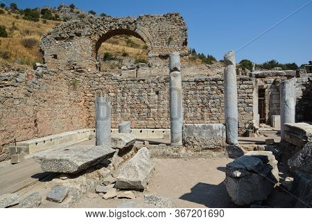 The Ruins Of The Ancient City Of Ephesus In Turkey. Toilets Latrines Of Ephesus.