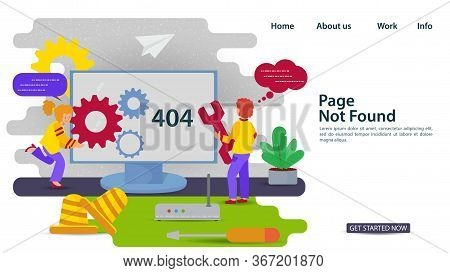 Banner, Oops, 404 Error, Page Not Found, Internet Connection Problems, A Girl And A Guy With A Key R