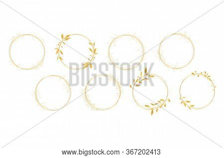 Botanical Line Art Silhouette Golden Leaves Wreath Hand Drawn Pencil Sketches Isolated On White Back