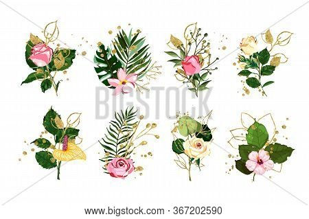 Gold Leaves Green Tropical Branch Plants With Red Pink Rose Flowers Wedding Bouquet With Golden Spla