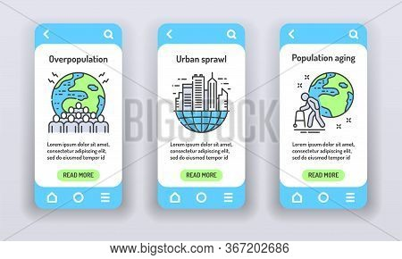 Eco Problems On Mobile App Onboarding Screens. Overpopulation, Urban Sprawl, Population Aging. Banne