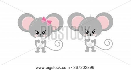 Cute Mouse Hold Tooth In Paws Set Isolated On White Bckground. Funny Little Mice Boy And Girl Took B