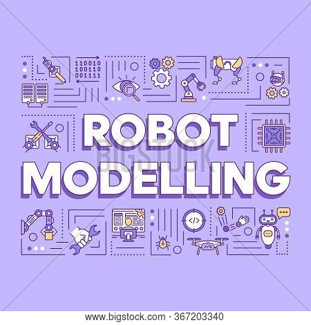 Robot Modelling Word Concepts Banner. Artificial Intelligence And Cybernetics. Robotization. Present