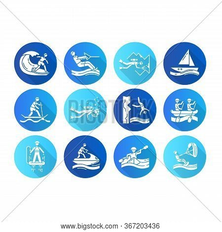 Watersports Flat Design Long Shadow Glyph Icons Set. Cave Diving, Kiteboarding, Flyboarding And Jet