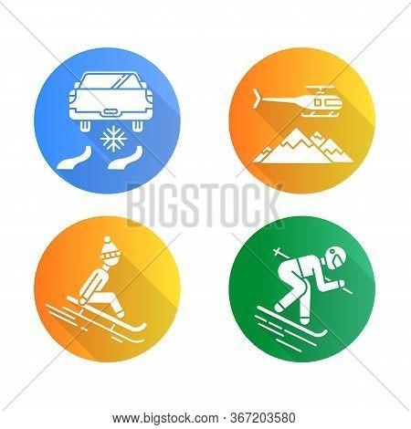 Extreme Winter Activity Flat Design Long Shadow Glyph Icons Set. Risky Sport Hobby, Adventure. Leisu