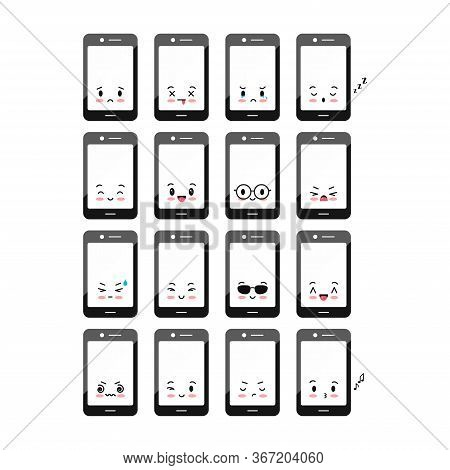 Mobile Phone Emoji Vector Icon Set Isolated On White. Cute Smartphone With Different Emotions. Black