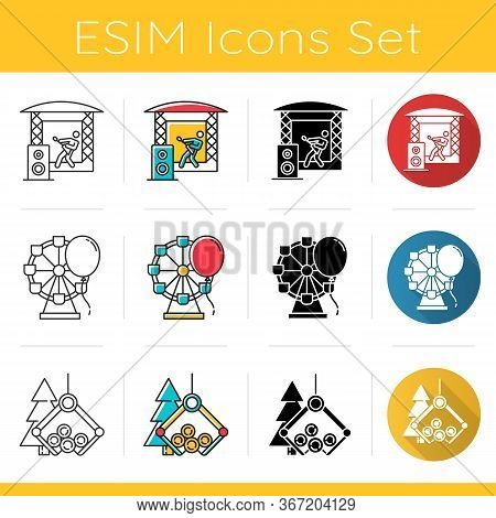 Industry Types Icons Set. Music, Entertainment, Timber Sectors Of Economy. Goods And Services Produc