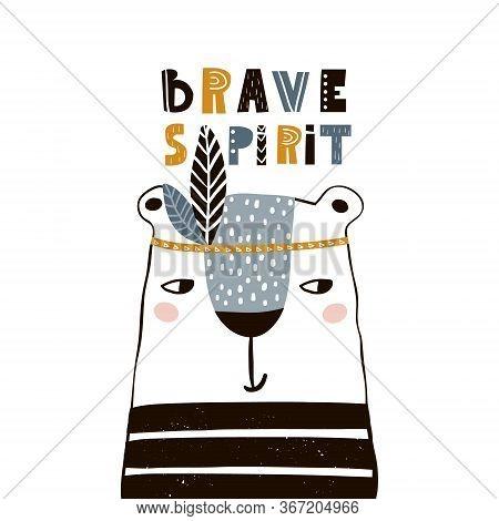 Cute Cartoon Bear Indian. Childish Print For Nursery, Kids Apparel,poster, Postcard. Vector Illustra