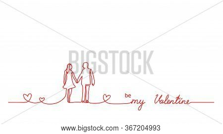 Be My Valentine Lettering. Red Line Minimalistic Vector Background With Couple, Love, Hearts And Tex