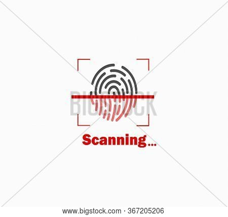 Imprint Vector Illustration. Fingerprint Scanning, Identification And Security