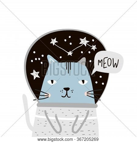 Cute Cat In Space Print. Childish Vector Illustration In Scandinavian Style. Perfect For Kids And Ba
