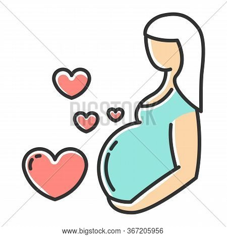 Pregnancy Care Color Icon. Prenatal Period. Motherhood, Parenthood. Expecting Baby, Child. Gynecolog