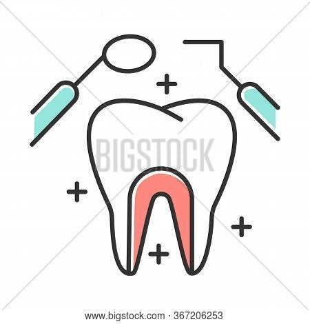 Dental Care Color Icon. Medical Procedures. Dentistry. Odontology. Tooth Examination. Cavity Treatme