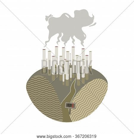Illustration Of World No Tobacco Day Banner Or Poster Design. Concept Of How The World Is Governed A