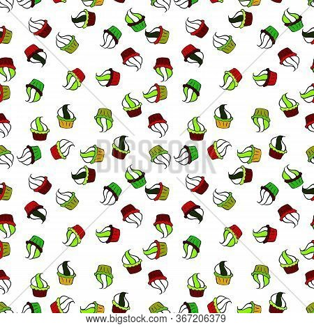 Muffin. Cupcake Pattern Background. Seamless.cupcake Vector Pattern. Vector Illustration. Happy Birt