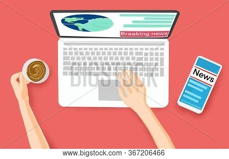 Hands Holding Coffee Cup Working On Computer And Smartphone Reading News Online, Work From Home Conc