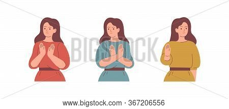 Women Speak No With Gestures. People Express Dissatisfaction And Disagreement. The Girl Raised Her H
