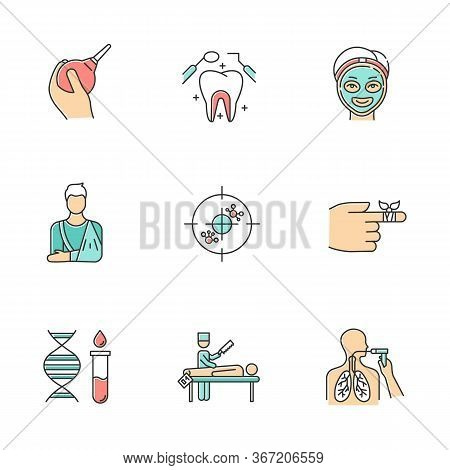 Medical Procedures Color Icons Set. Constipation Aid. Healthcare. Orthopedic Cast. Immunotherapy. De