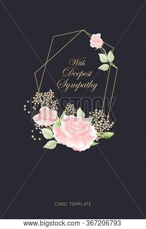 Pink Rose Frame On Black Background Vector Sympathy Template