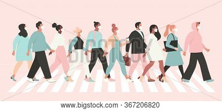 Keep Social Distance Coronavirus, People In White Medical Face Mask Walking Down The Street. Concept