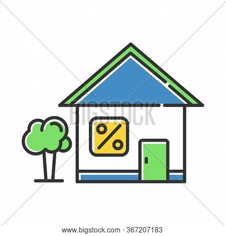 Home Loan Color Icon. Credit With Interest Rate To Buy Real Estate Building. Buying, Renting House.