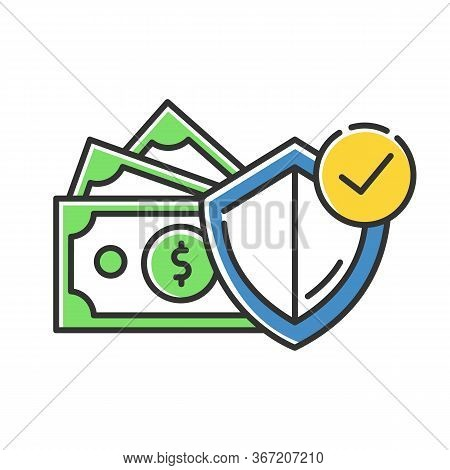 Credit Insurance Color Icon. Money Investment In Selfcare. Paying For Loan. Life, Health Insurance.