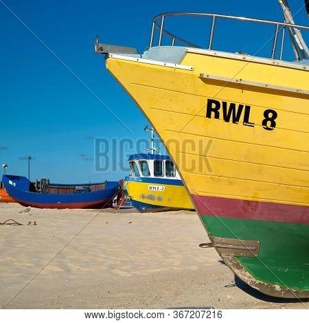 Rewal, Poland - September 02, 2019: Fishing Boat On The Beach Of The Polish Baltic Coast Near Rewal