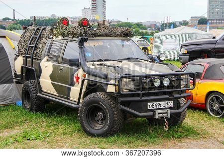 Moscow, Russia - July 6, 2012: Customized Pickup Truck Mitsubishi L200 Presented At The Annual Motor