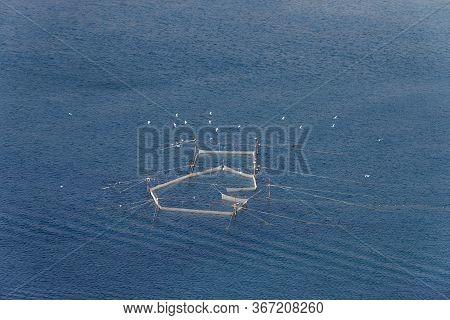 Sea Net. Stationary Fishing Nets. Fishing Off The Coast Of The Sea With A Net. Seine Landline And Se