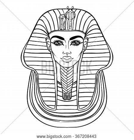 King Tutankhamun Mask, Ancient Egyptian Pharaoh. Hand-drawn Vintage Vector Outline Illustration. Tat