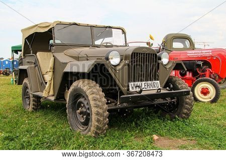 Moscow, Russia - July 6, 2012: Soviet Offroad Military Car Gaz 67b Presented At The Annual Motorshow