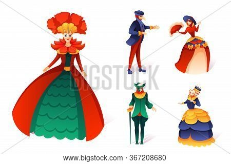 Venetian Carnival Set. Cartoon People In Festive Costume And Party Masquerade Mask. Beautiful Woman