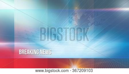 Graphical Abstract Background With Breaking News Text, High-tech And Modern 3d Studio Space, 3d Illu
