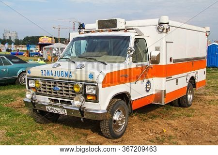 Moscow, Russia - July 6, 2012: Ambulance Car Ford Econoline Xl Presented At The Annual Motorshow Aut