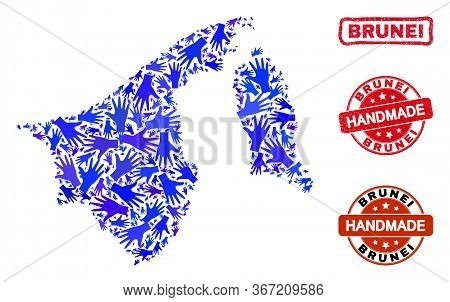 Vector Handmade Collage Of Brunei Map And Grunge Watermarks. Mosaic Brunei Map Is Designed Of Random