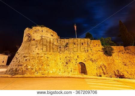 Fortress In The Stari Grad Bar Or Bar Old Town, A Small Town In Montenegro At Night